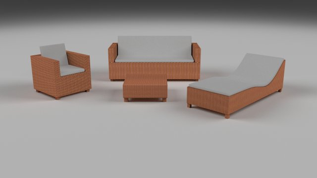 Low Poly Wicker Furniture Pack 2 3D Model