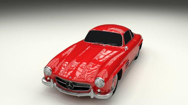 Rigged Mercedes 300SL W198 3D Model