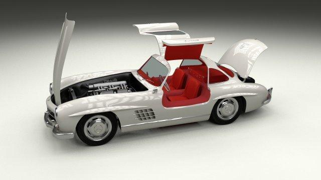 Fully ModelledRigged Mercedes 300SL Gullwing 3D Model