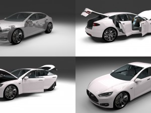 Tesla Model S with chassis-interior