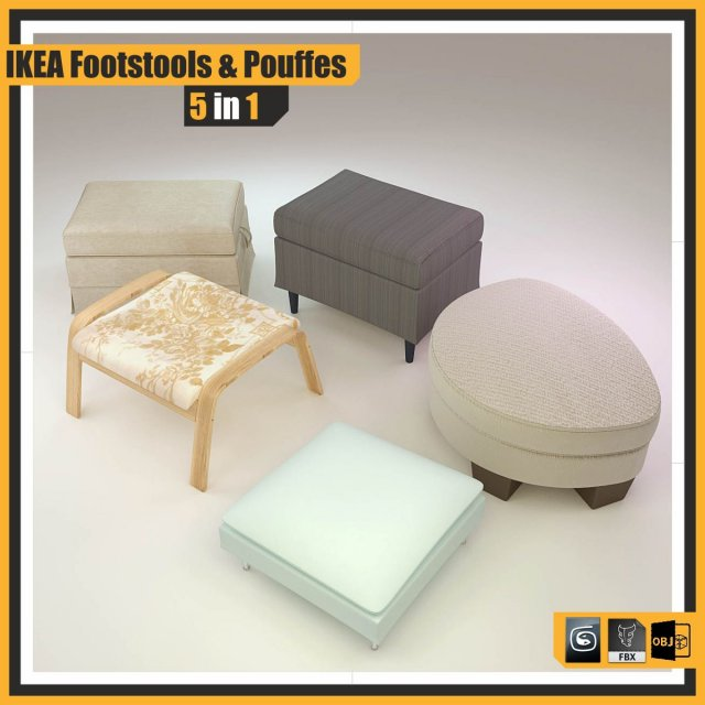 Download free IKEA FOOTSTOOLS and POUFFES  5 in 1 3D Model