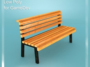 Low Poly Bench 1 for Game Dev