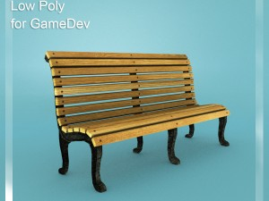Low poly Bench 2 for Games Dev