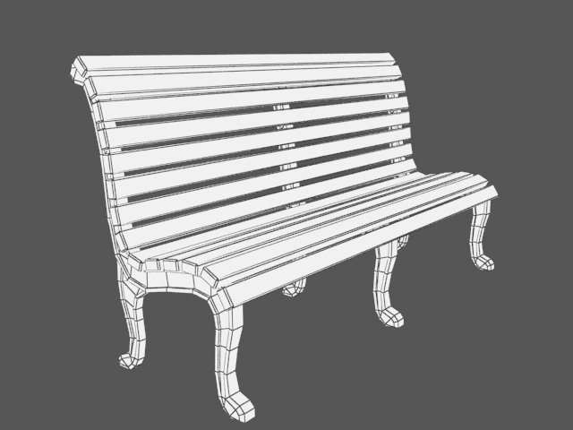 Ordinary Bench Games Part - 12: Low Poly Bench 2 For Games Dev 3D Model