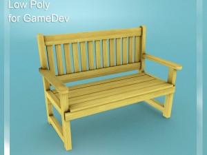 Low Poly Bench 3 for Game Dev