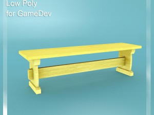 Low Poly Bench 4 for Game Dev