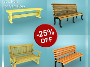 Low Poly Bench Pack 1 for Game Dev