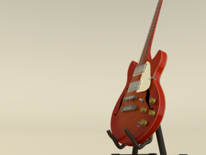 Electric guitar wood and red