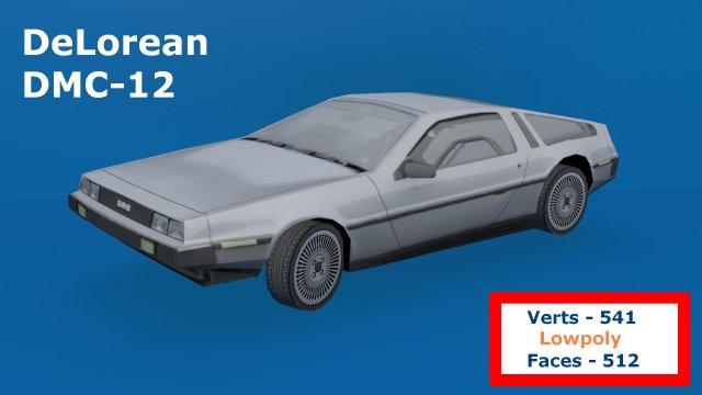 Delorean DMC-12 Lowpoly 3D Model