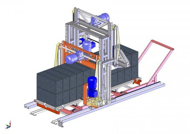 Machine cutting of aerated concrete 3D Model