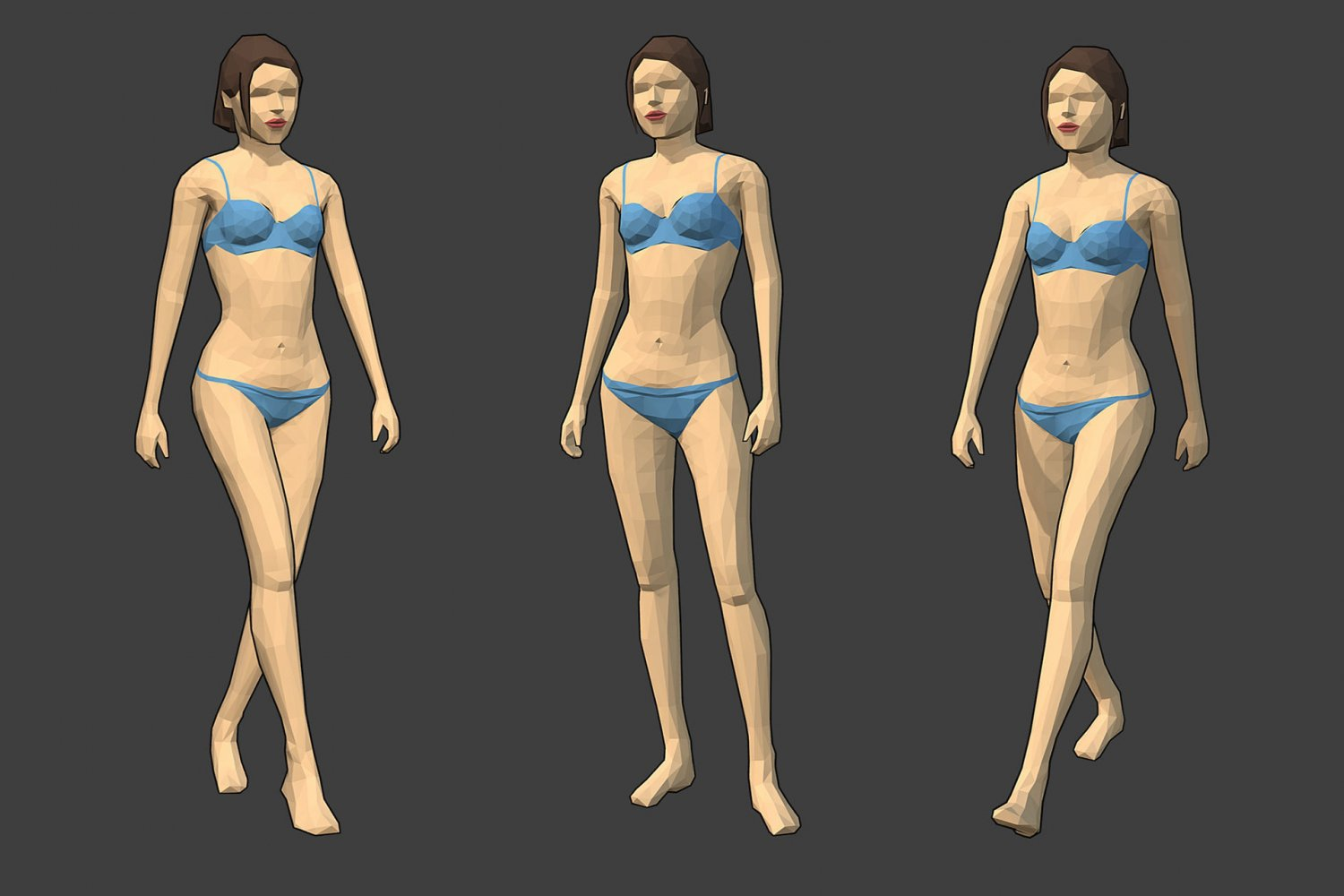 Rigged Lowpoly Female Character - Caren 3D Model in Woman 3DExport
