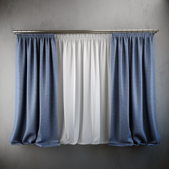 Curtains and blinds 3D Model