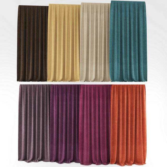 Colored curtains 3D Model