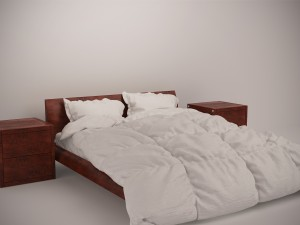 Wooden Bed Set with Duvet and Pillows