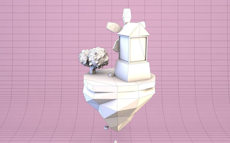 Cartoon Mill On Island Low Poly Free 3D Model in Fantasy 3DExport