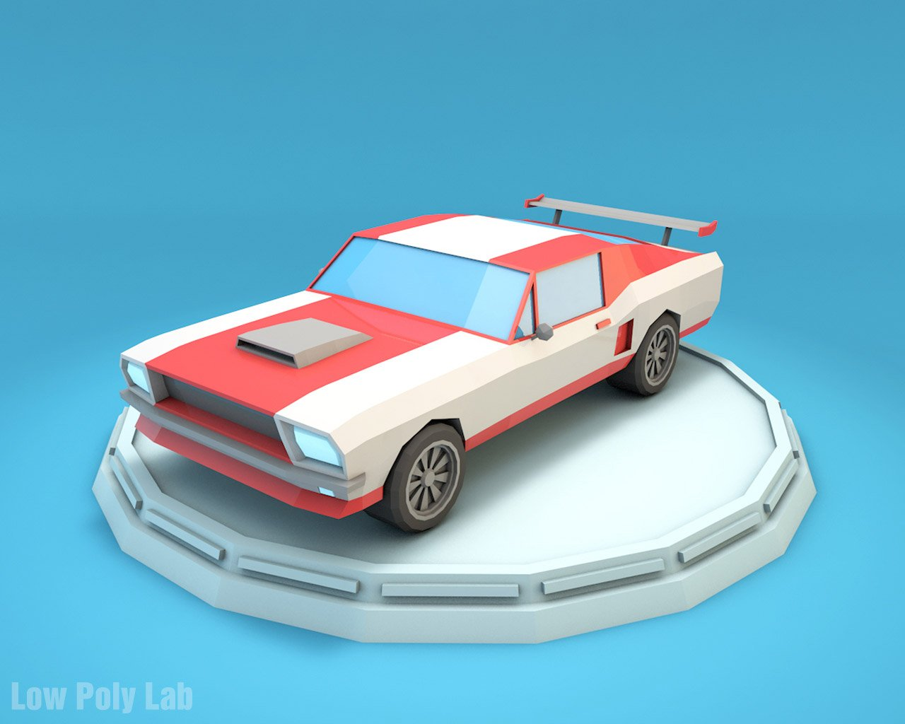 Cartoon car low poly 3d model in racing 3dexport malvernweather Image collections
