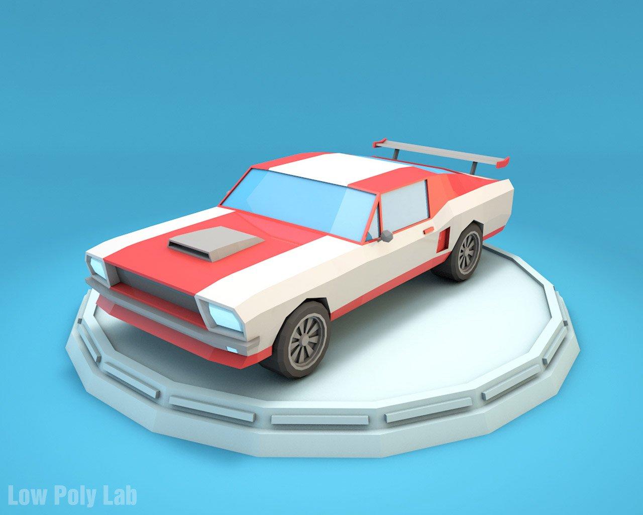 Cartoon Car Low Poly 3d Model In Racing 3dexport
