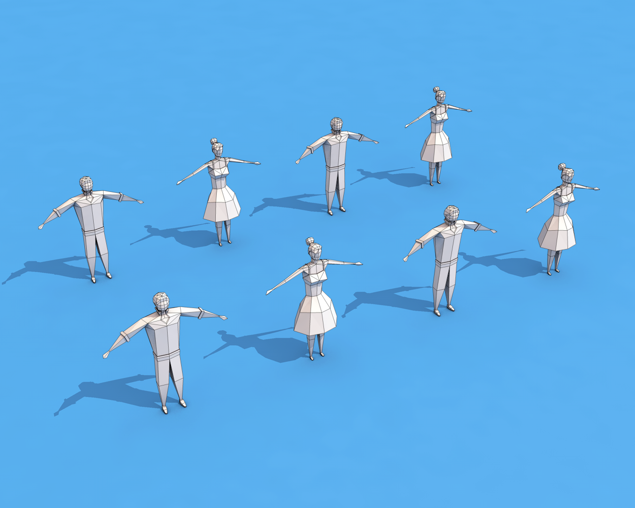 Low Poly Rigged Characters 3D Model in Cartoon 3DExport