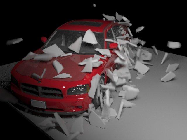 Rayfire plugins fragmention wall on car 3D Model