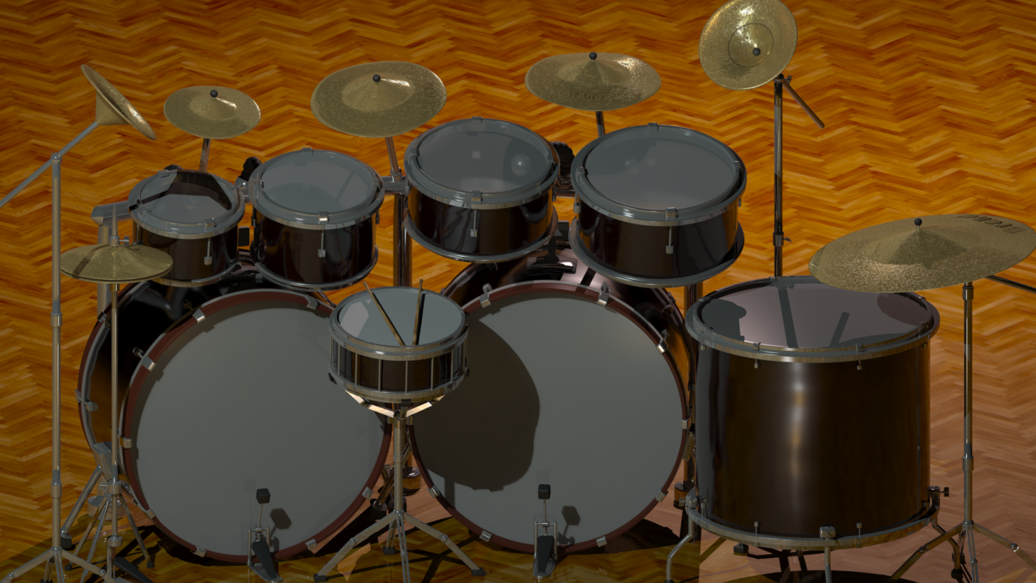 Drum set 3D Model in Percussion 3DExport