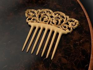 Floral swirls hair comb