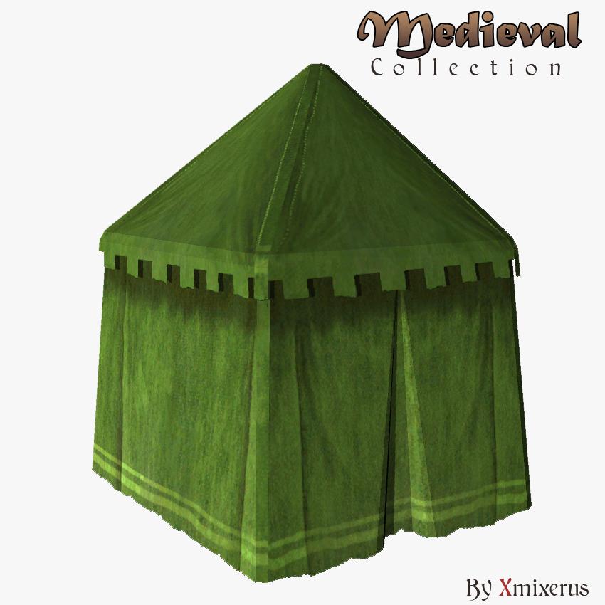 & Medieval tent green round 3D Model in Fantasy 3DExport
