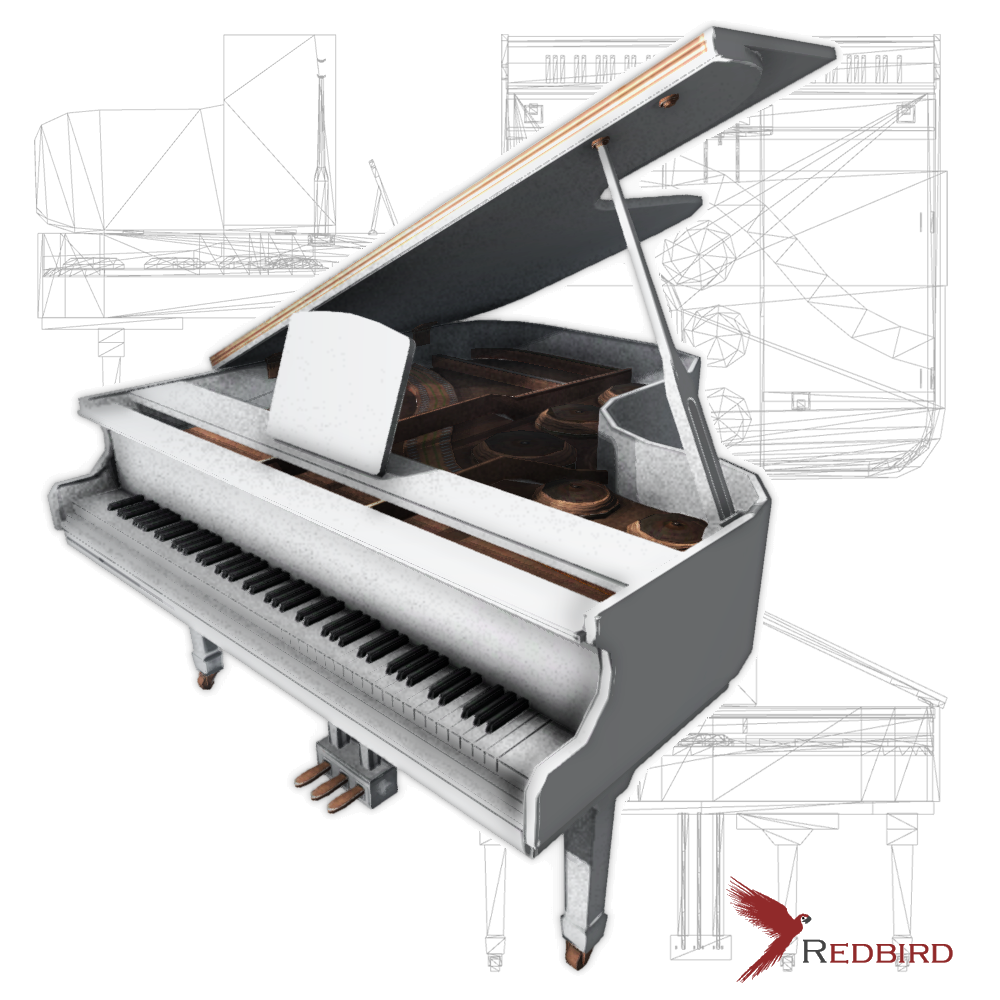 Grand Piano low poly white 3D Model in Piano 3DExport