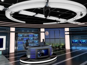 TV Virtual Stage News Room Studio 027
