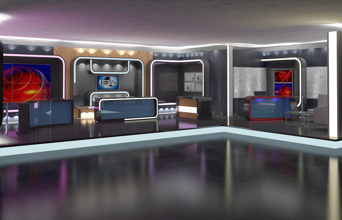 Virtual TV Studio News Set 16 3D Model in Exhibit 3DExport