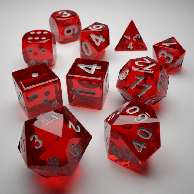 Role Playing Dice  Complete Set  3D Print Ready 3D Model