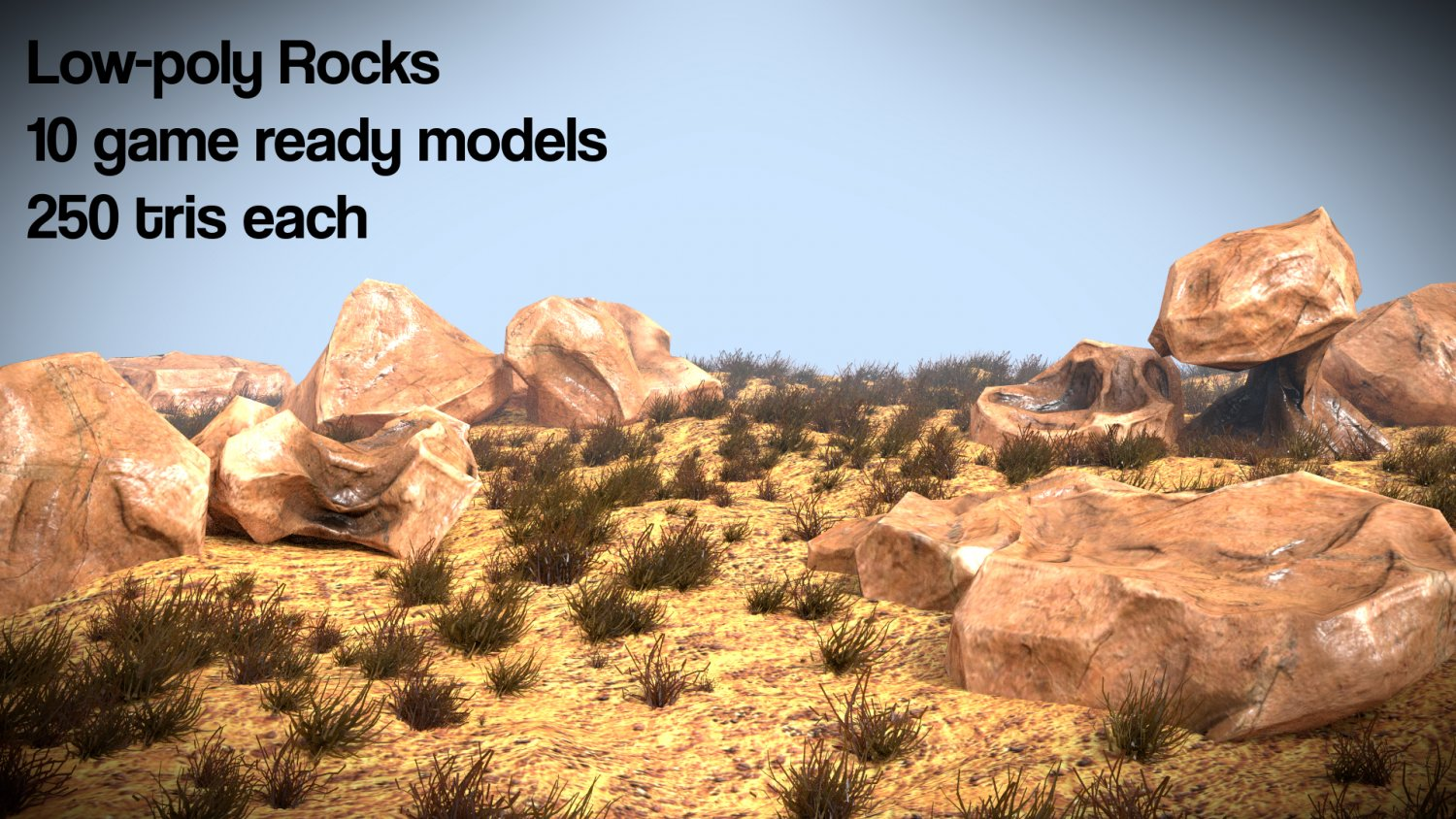 Low poly rocks game assets 3D Model in Grass and Ground Cover 3DExport