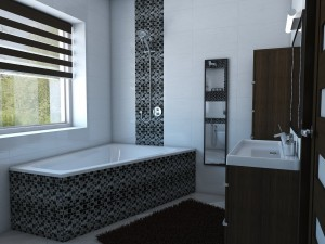 Bathroom with angular bath