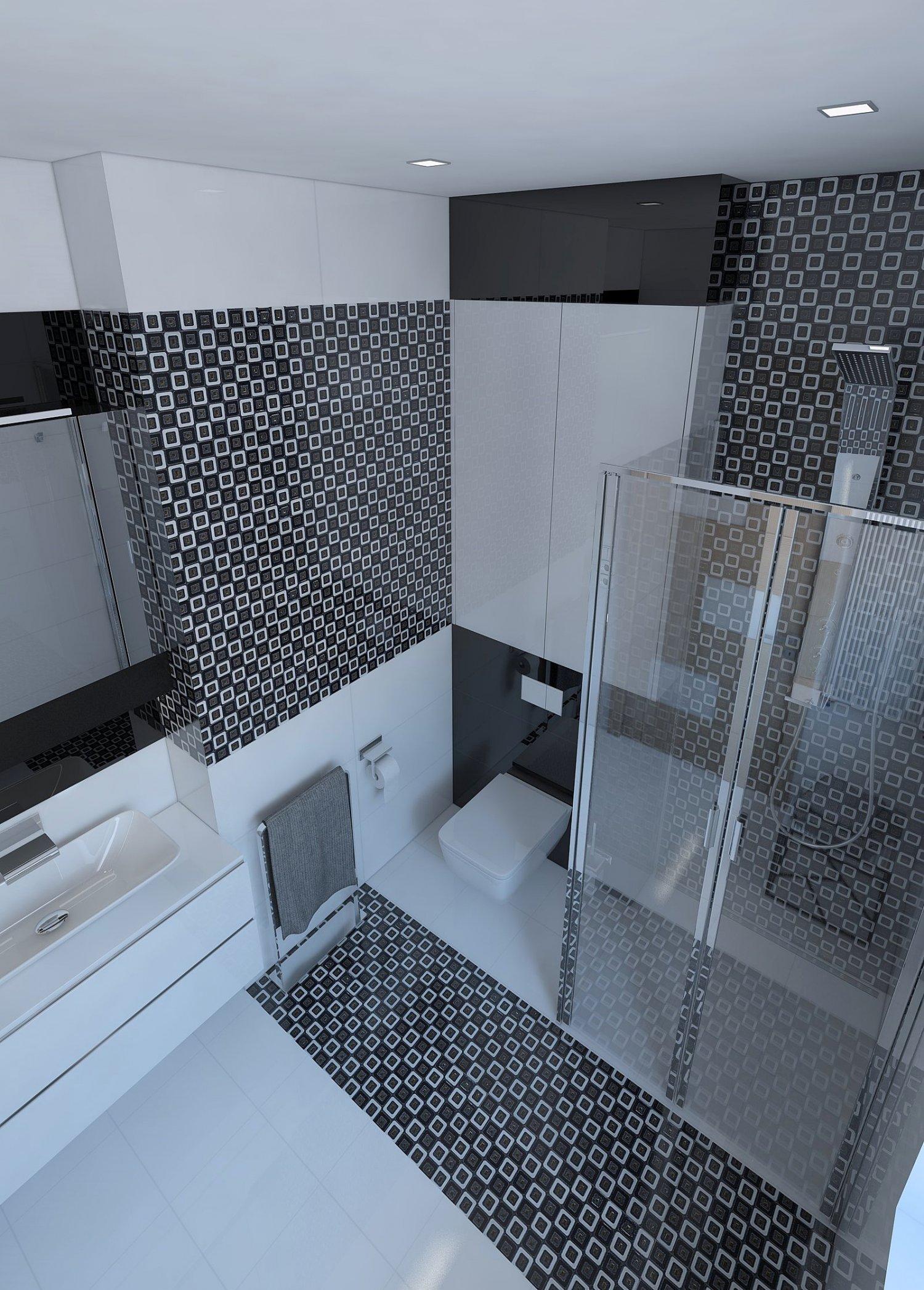 Beautiful bathroom with shiny tiles 3D Model in Bathroom 3DExport