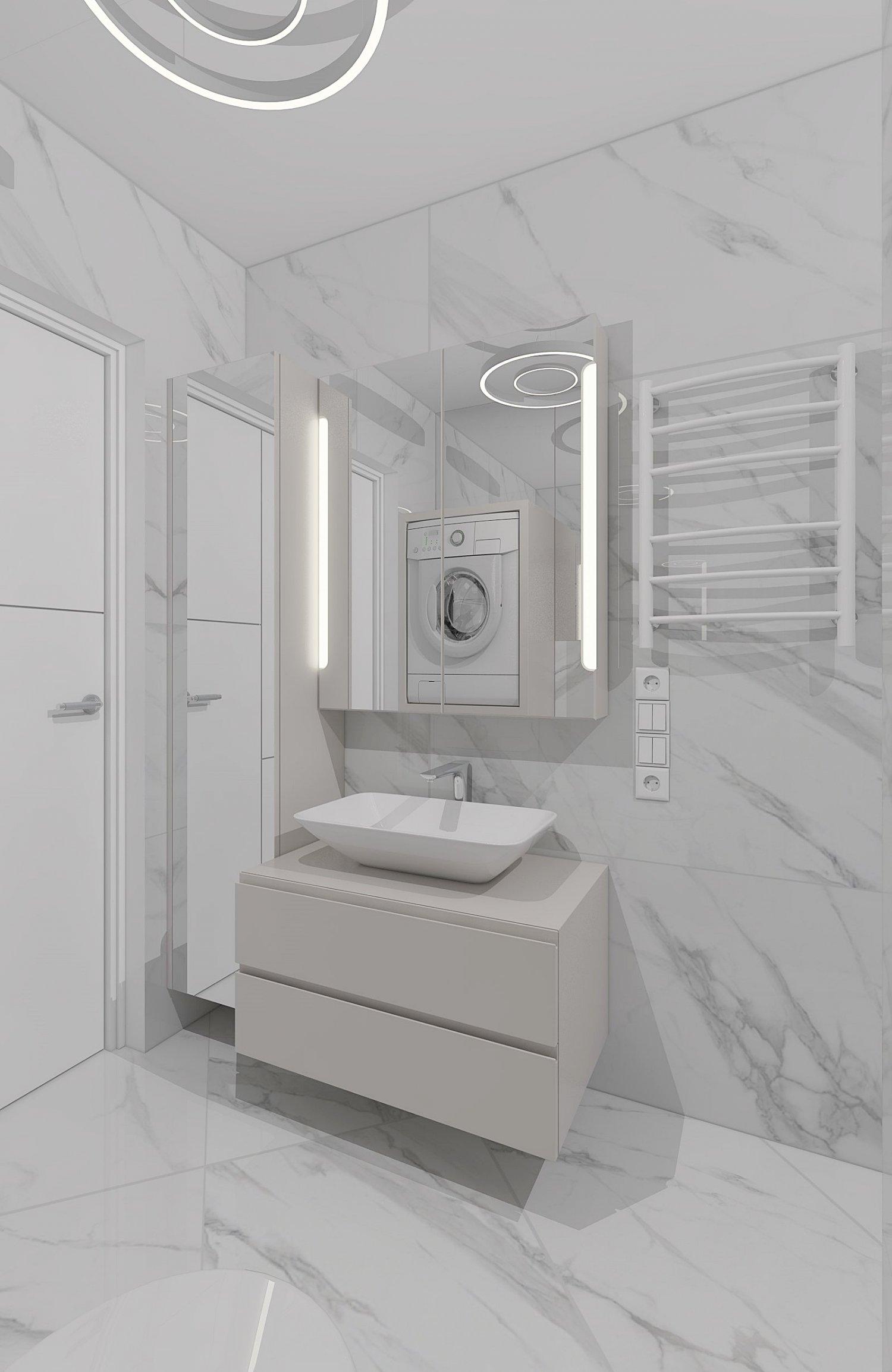 Cozy shower room with marble tiles Free 3D Model in Bathroom 3DExport