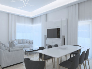 Amazing Living Room With Modern Ceiling Lighting 3D Model