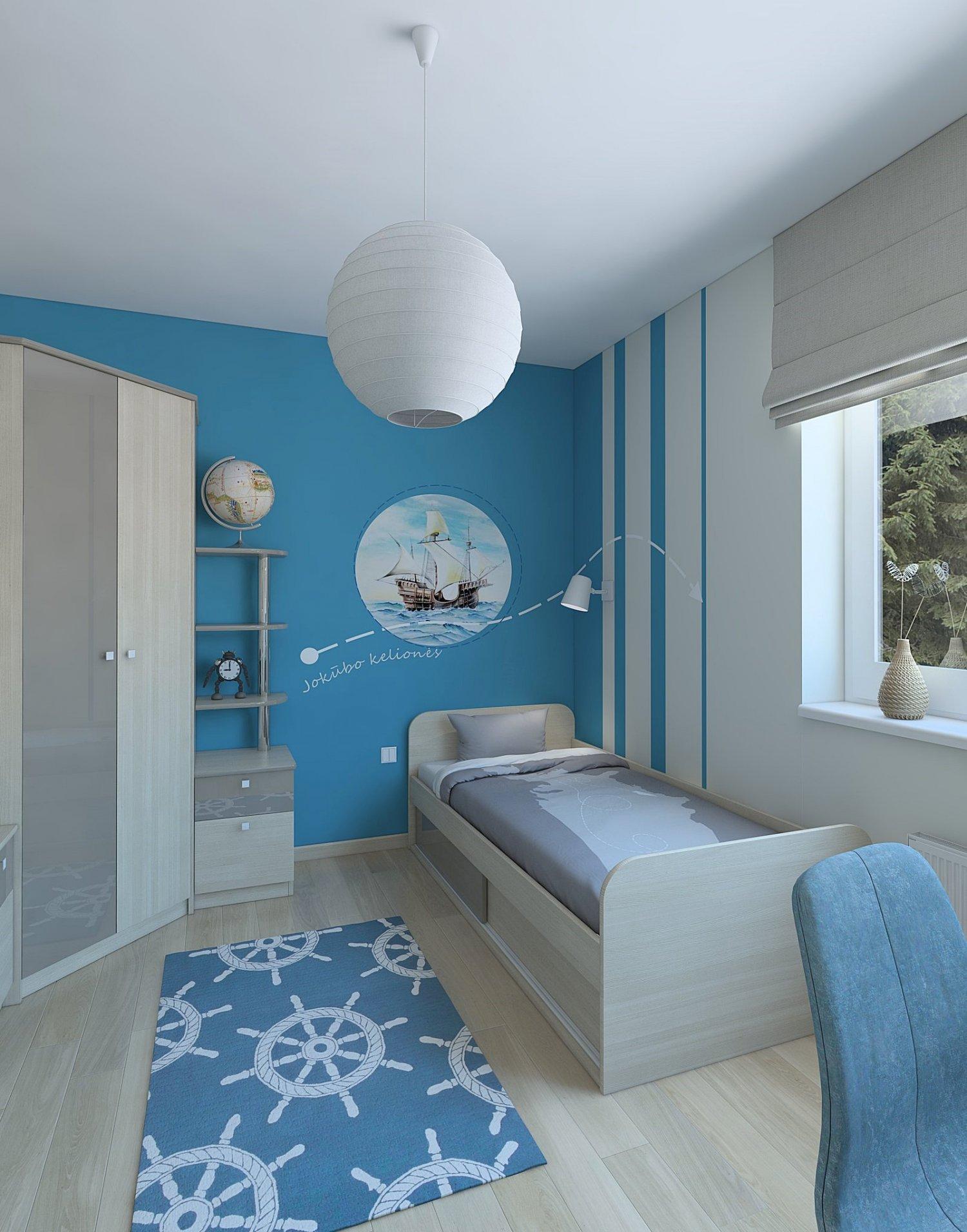 Cozy boy room with blue wallpaper 3D Model in Bedroom 3DExport