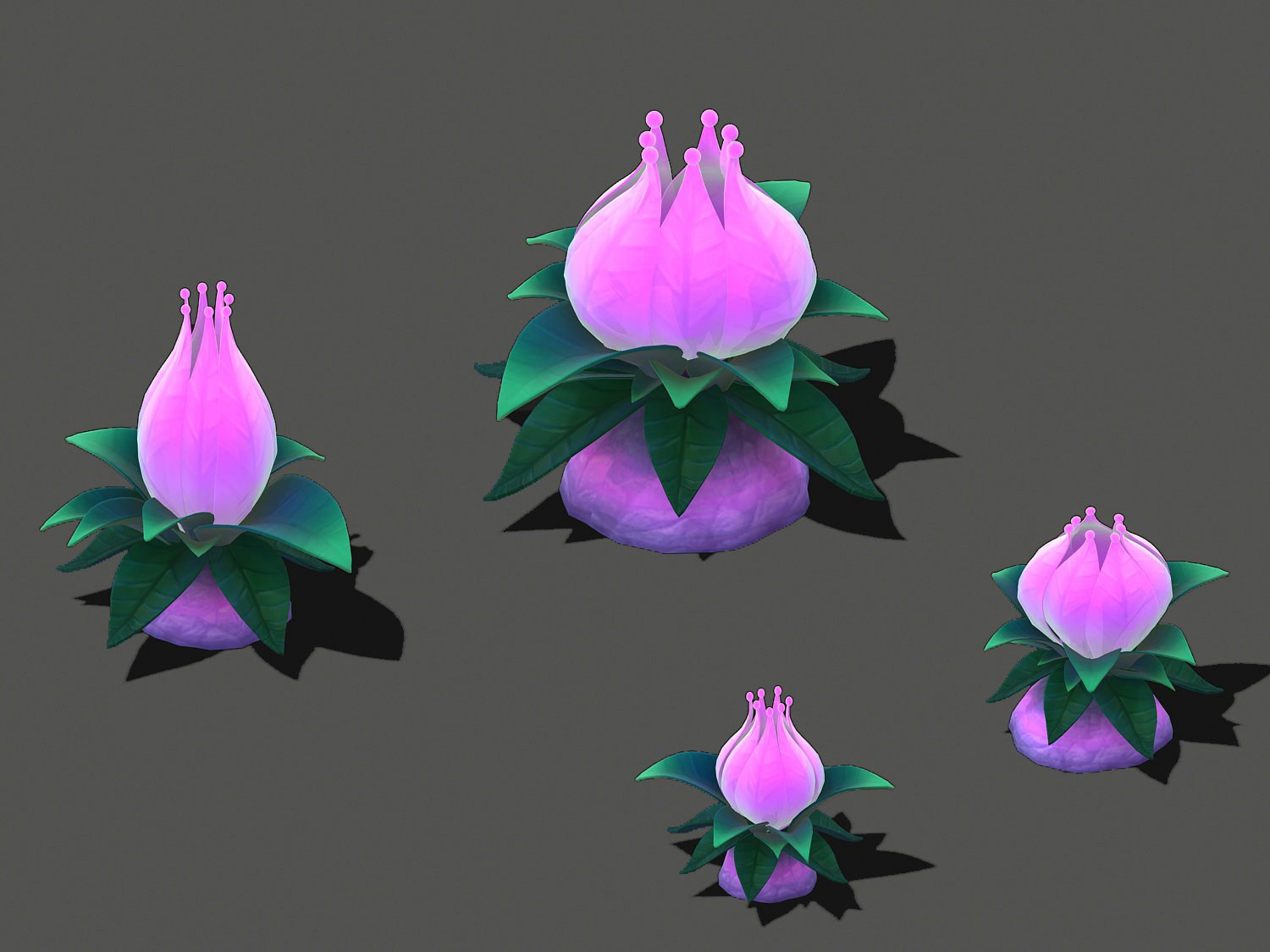 Cartoon Sky City Tianshan Snow Lotus 3d Model In Bush 3dexport