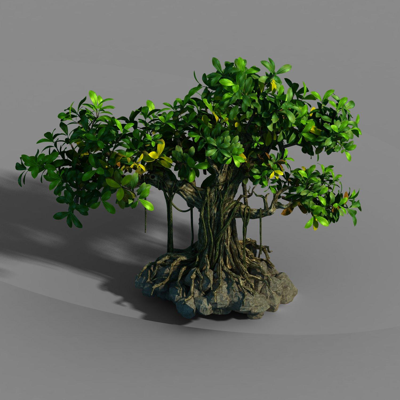 Small bamboo peak - big banyan tree 01 3D Model in Tree 3DExport