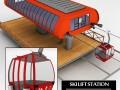Ski lift station gondola cable car