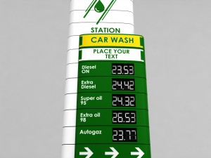 Gas station price sign totem low poly 04