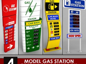 Gas station price sign totem low poly pack