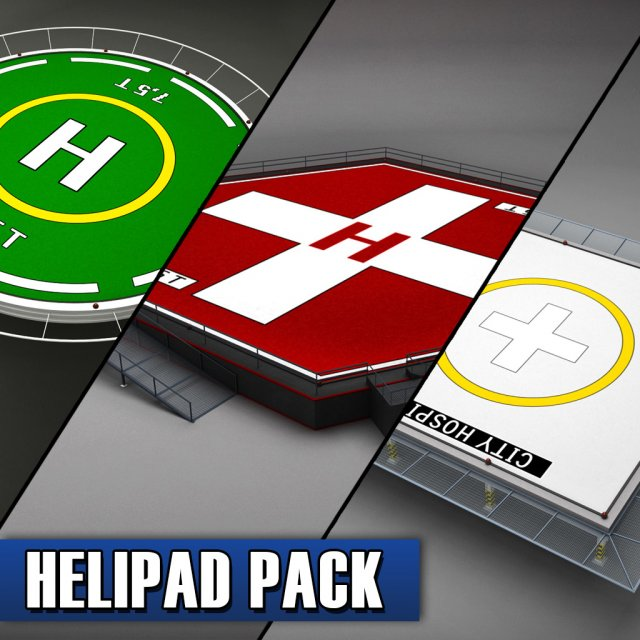Helipad pack 3D Model