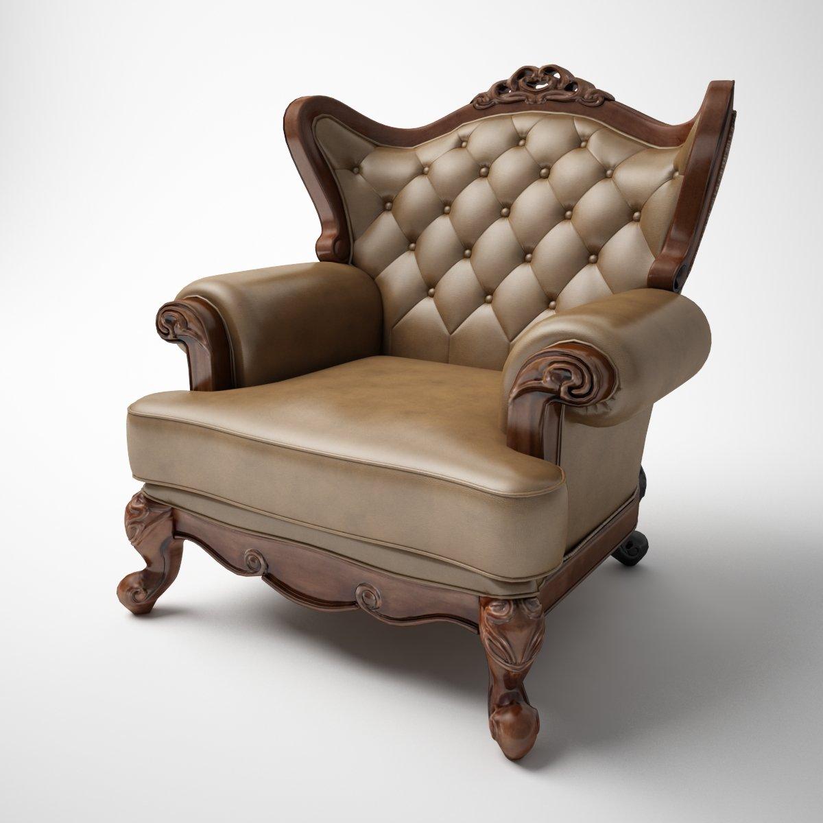 Single person classic leather sofa 3D Model in Sofa 3DExport
