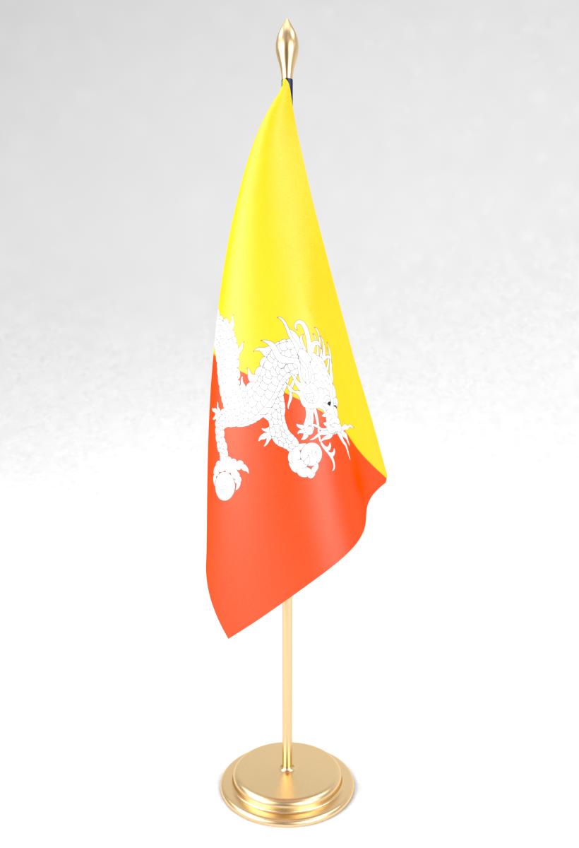 Office flag Bhutan 3D Model in Miscellaneous 3DExport