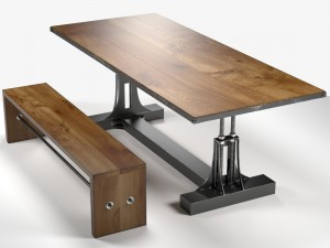 Post Industrial table and bench