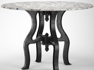 French Industrial White Marble Dining Table