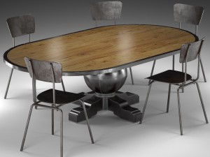 Enzo Industrial Loft Pine Metal Oval Dining Table