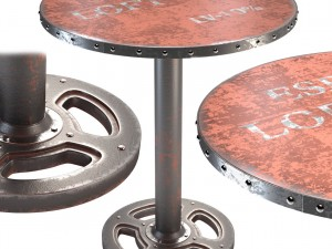 Moes Home Wheel Round Dining Table in Orange
