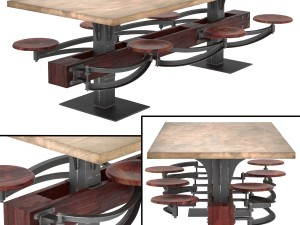 Perrin Communal Table With Attached Seating