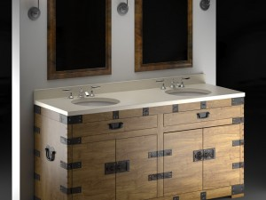 HEIRLOOM SILVER Double washbasin Restoration Hardw